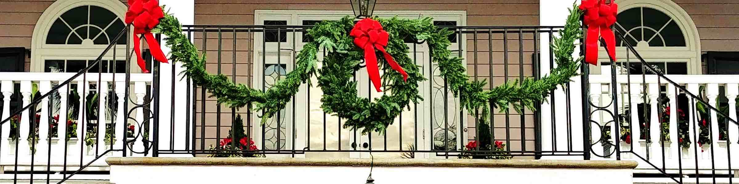 Holiday decorations on a Charleston home.