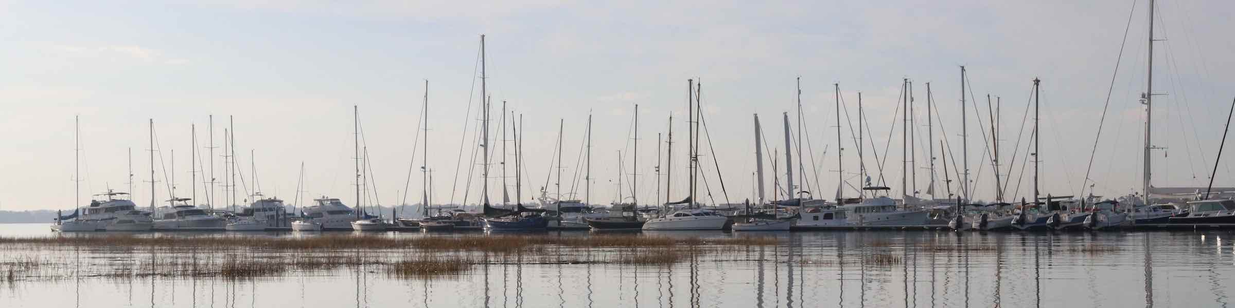 Peaceful scene of boats in a Charleston marina.