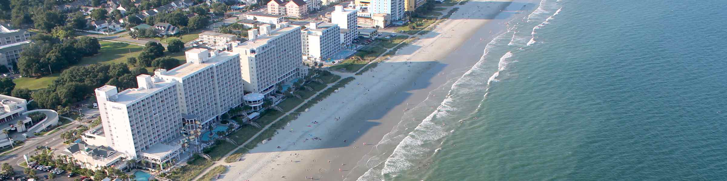 Aerial View Of Beachside Hotels At Myrtle Beach Sc