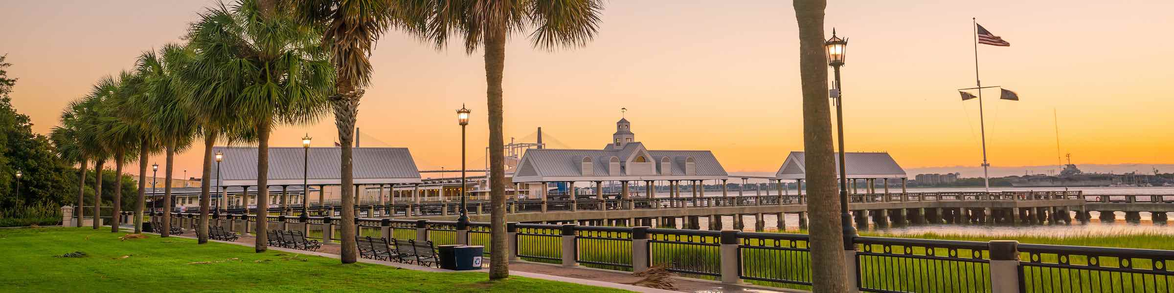 Sunset view of Charleston's Waterfront Park.